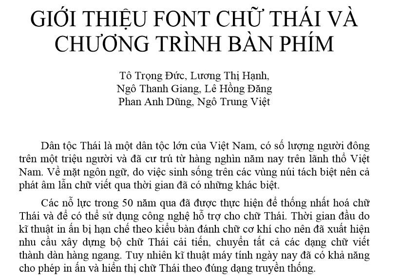 Giới thiệu font chữ Thái và chương trình bàn phím