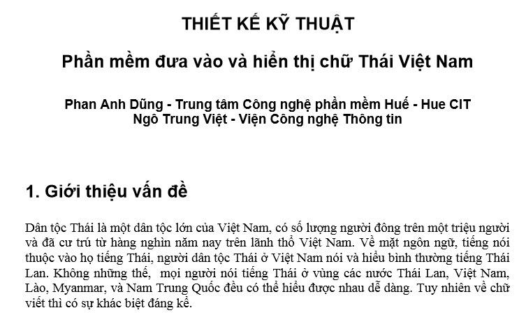 Phần mềm đưa vào và hiển thị chữ Thái Việt Nam