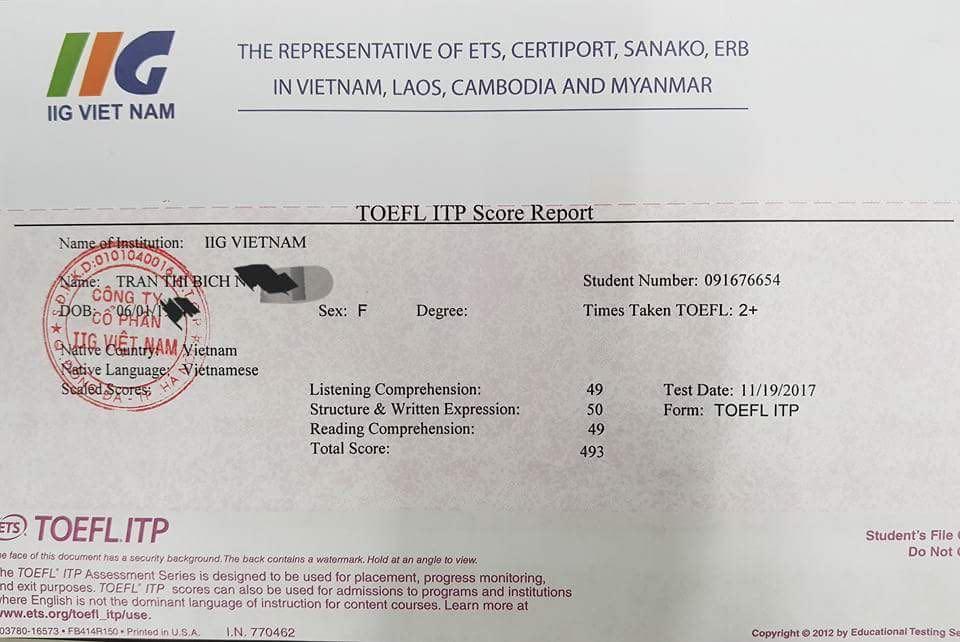 Chứng chỉ TOEFL ITP do IIG Vietnam cấp